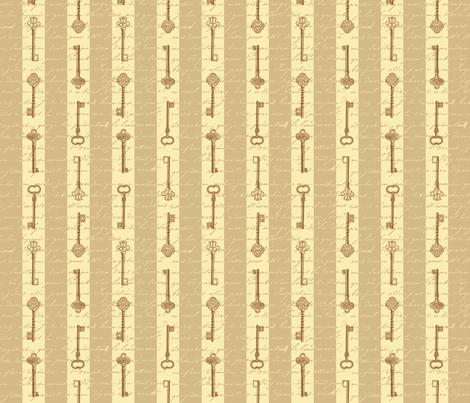 steampunk stripes with keys fabric by risarocksit on Spoonflower - custom fabric