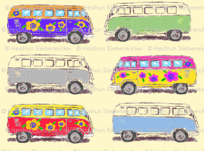 Hippie flower bus