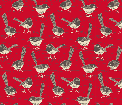 birdies red fabric by cjldesigns on Spoonflower - custom fabric