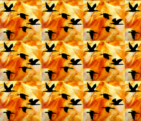 Cormorants at Sunset by Sylvie_ Art on Fabric fabric by house_of_heasman on Spoonflower - custom fabric