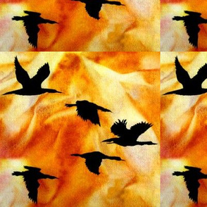 Cormorants at Sunset by Sylvie_ Art on Fabric