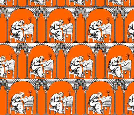Scriptorium Orange Pomander fabric by glimmericks on Spoonflower - custom fabric