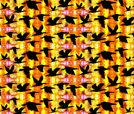 Birds flying home at Sunset by Sylvie fabric by art_on_fabric on Spoonflower - custom fabric