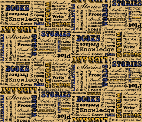 A Book Lover's Medley (Blue) fabric by robyriker on Spoonflower - custom fabric