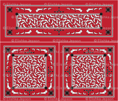 Doodle Basset Bandanas (Red)