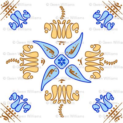 Multani Floral 1 gold blue large