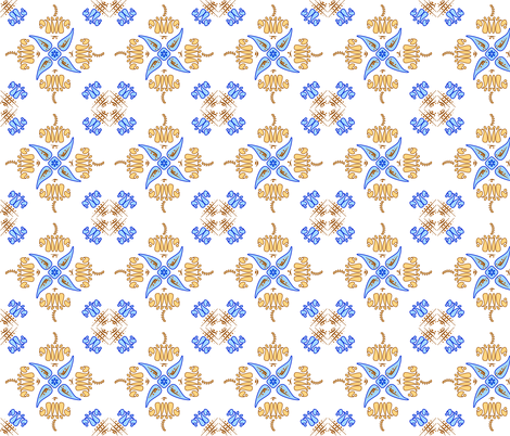 Multani Floral 1 gold blue fabric by mojiarts on Spoonflower - custom fabric