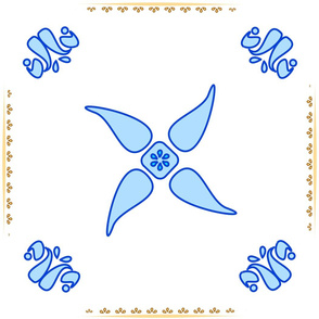 Multani Floral 1 blue squares centered