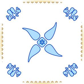 Multani Floral 1 blue squares centered