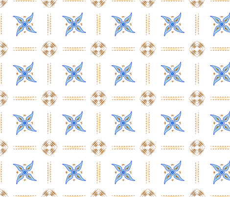 Multani Floral 1 blue squares 2  fabric by mojiarts on Spoonflower - custom fabric