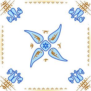 Multani Floral 1 blue squares 3 centered