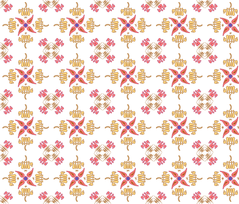 Multani Floral 1 gold red fabric by mojiarts on Spoonflower - custom fabric