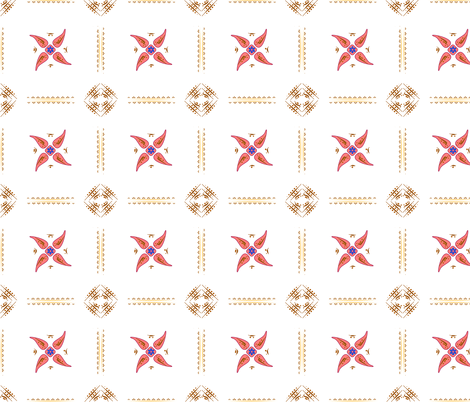 Multani Floral 1 red squares fabric by mojiarts on Spoonflower - custom fabric