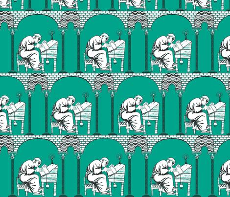 Scriptorium emerald city fabric by glimmericks on Spoonflower - custom fabric