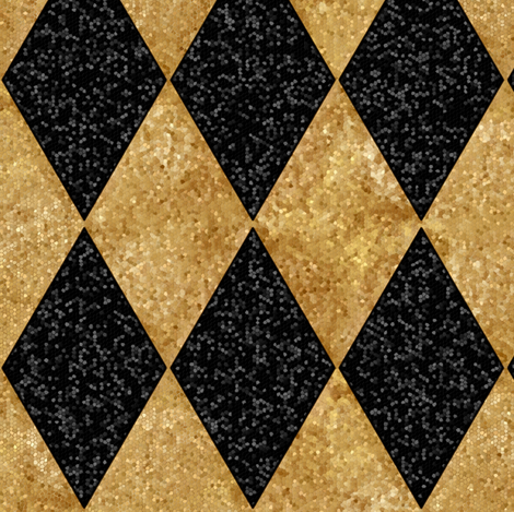 Harlequin Diamonds ~ Black and Antique  Gold ~ Sequins  fabric by peacoquettedesigns on Spoonflower - custom fabric