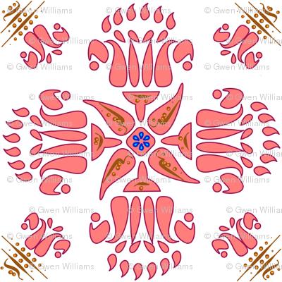Multani Floral 1 red bloom