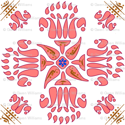 Multani Floral 1 red bloom centered