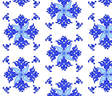 Multani Floral 1 blue bloom large fabric by mojiarts on Spoonflower - custom fabric