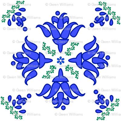 Multani Floral 1 blue green
