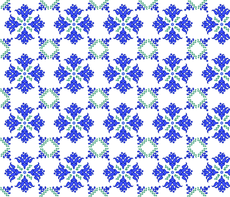 Multani Floral 1 blue green fabric by mojiarts on Spoonflower - custom fabric