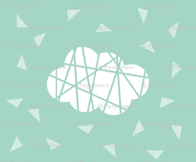 white clouds on mint with lines