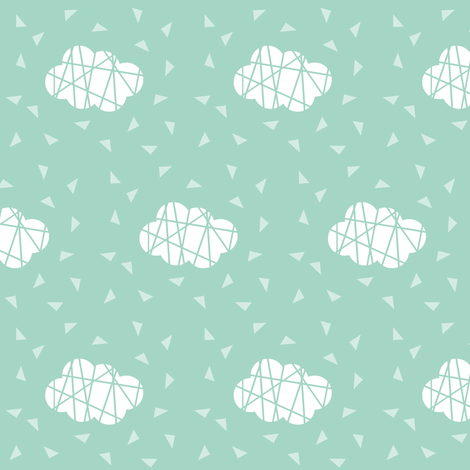 white clouds on mint with lines fabric by pencilmein on Spoonflower - custom fabric