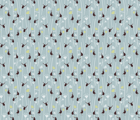 Monkey Art Déco_grey fabric by happy_to_see on Spoonflower - custom fabric