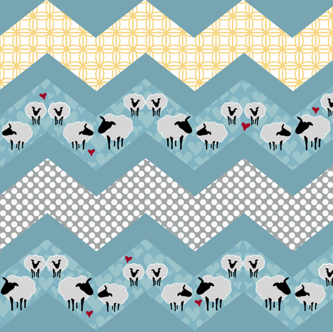 Zig Zag Yard Sheep fabric by lornameg on Spoonflower - custom fabric
