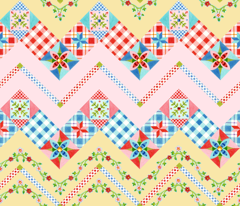 "Country Days Zig Zag Cheater Quilt Design 2.5"" squares fabric by patriciasheadesigns on Spoonflower - custom fabric"