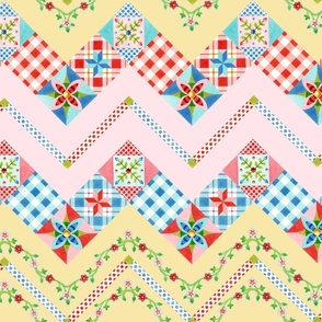 "Country Days Zig Zag Cheater Quilt Design 2.5"" squares"