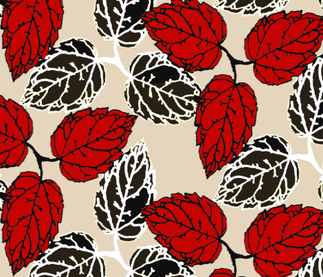 3leaves-red fabric by funmimathewsdesigns on Spoonflower - custom fabric