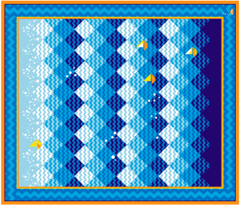 Sailing_the_Zigzag_Sea_Cheater_quilt fabric by hootenannit on Spoonflower - custom fabric