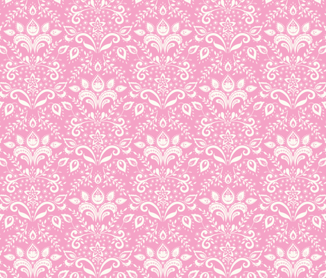 Bohemian Damask - pink & cream fabric by kayajoy on Spoonflower - custom fabric