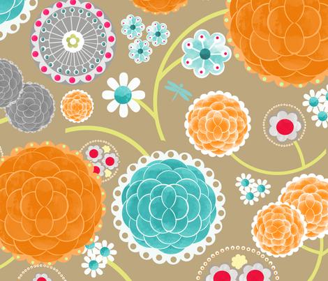 Rita Flowers Cream fabric by natitys on Spoonflower - custom fabric