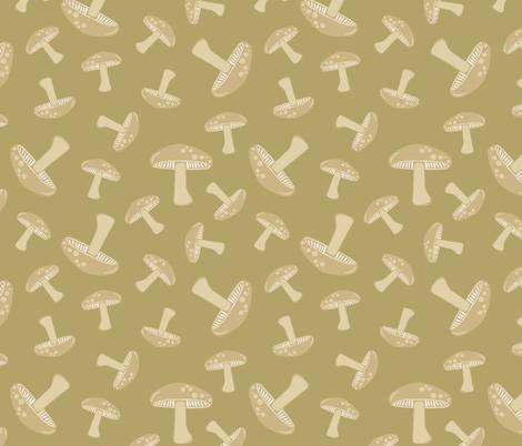 Autumn Delights - Mushrooms - Olive fabric by uzumakijo on Spoonflower - custom fabric