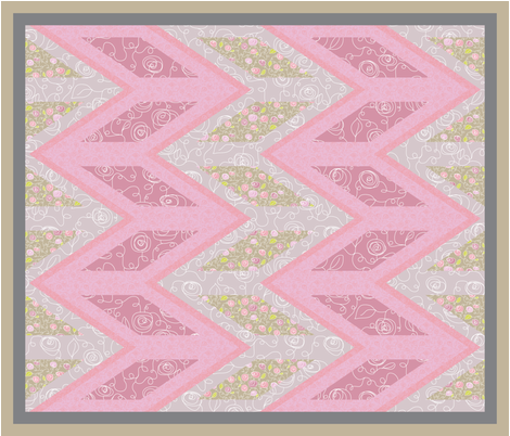 Big Chevron Floral fabric by ghennah on Spoonflower - custom fabric