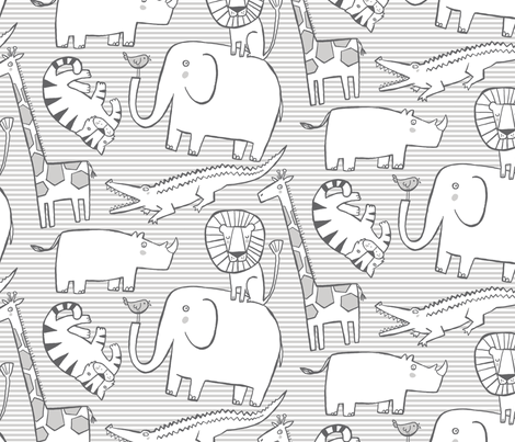 Lullaby Jungle (neutral) fabric by leanne on Spoonflower - custom fabric
