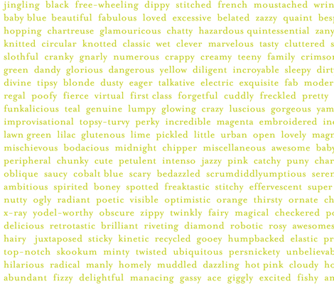 Improv Adjectives - LIME on WHITE fabric by happysewlucky on Spoonflower - custom fabric