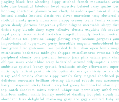 Improv Adjectives - AQUA on WHITE fabric by happysewlucky on Spoonflower - custom fabric