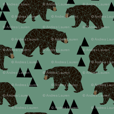 geometric bear // viridian green bear with triangles for gender neutral cool scandi kids and home decor textiles