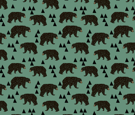 geometric bear // viridian green bear with triangles for gender neutral cool scandi kids and home decor textiles fabric by andrea_lauren on Spoonflower - custom fabric