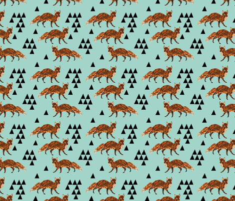 fox // triangles aqua geometric blue triangles fabric by andrea_lauren on Spoonflower - custom fabric