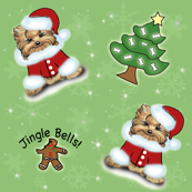 Yorkie Jingle Bells Green