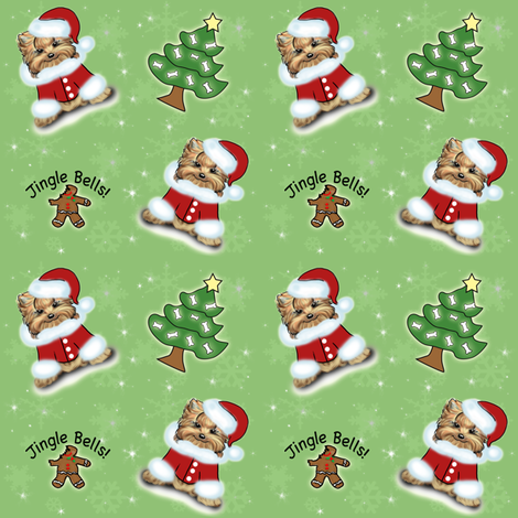Yorkie Jingle Bells Green fabric by catialee on Spoonflower - custom fabric