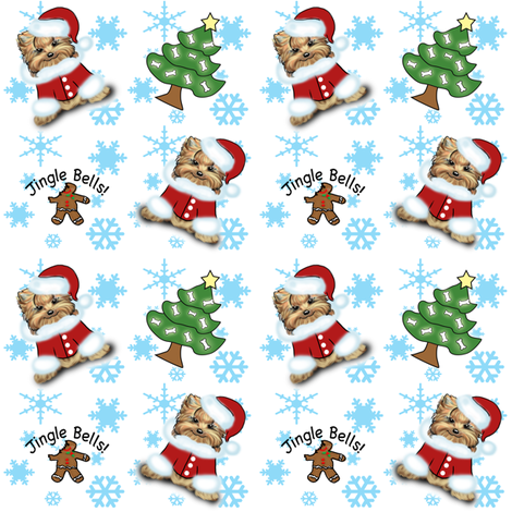 Yorkie Jingle Bells white and Blue fabric by catialee on Spoonflower - custom fabric