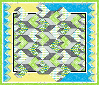 Heart of the Chevron Quilt - Green Glass