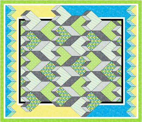 Heart of the Chevron Quilt - Green Glass fabric by inscribed_here on Spoonflower - custom fabric