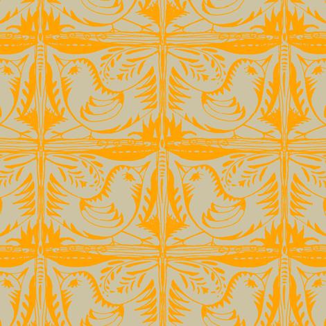 Beady Eyed Bird (mandarin on beige) fabric by wednesdaysgirl on Spoonflower - custom fabric