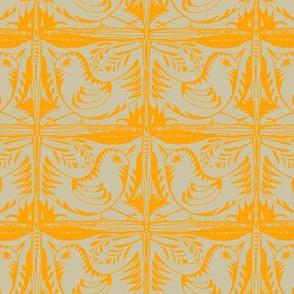 Beady Eyed Bird (mandarin on beige)