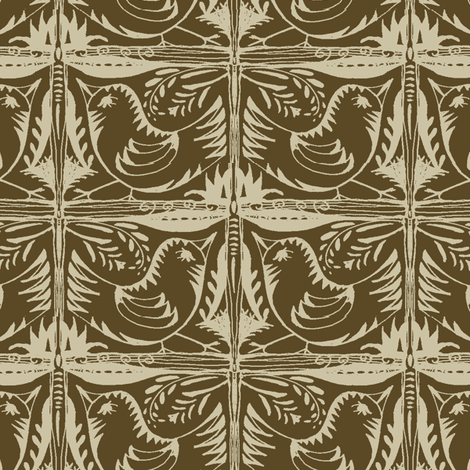 Beady Eyed Bird (beige on chocolate) fabric by wednesdaysgirl on Spoonflower - custom fabric